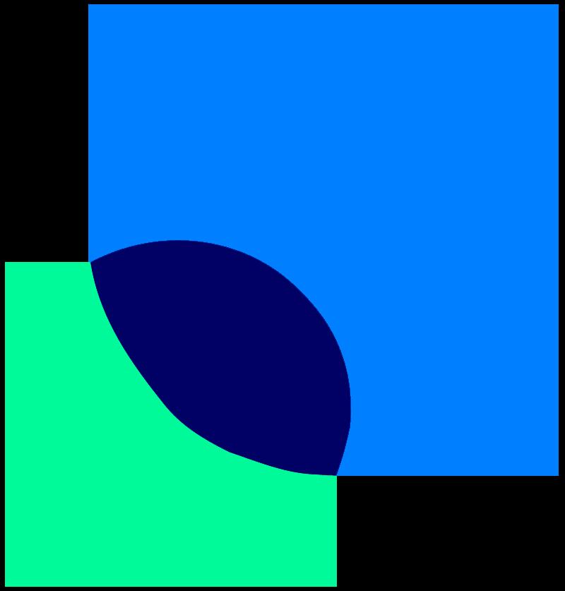 Twee circles overlappen elkaar wat de verschillende competentie reflecteert.